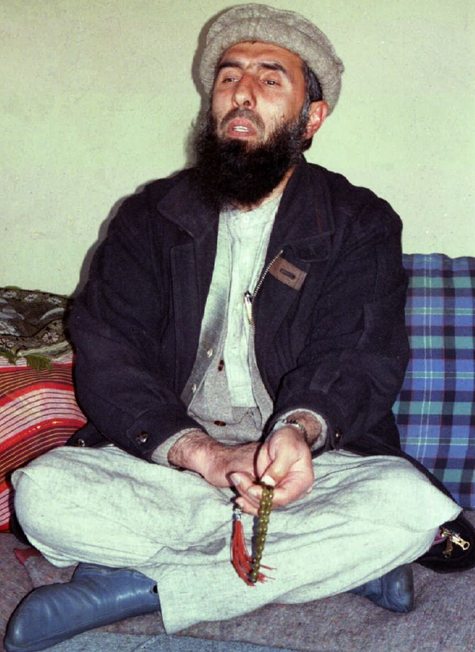 February 16, 1995, Gulbuddin Hekmatyar, then a former Afghan prime minister and head of the Hezb-e-Islami faction, speaks to reporters at his regional base in Puli Alam in Logar province. Photograph: Reuters