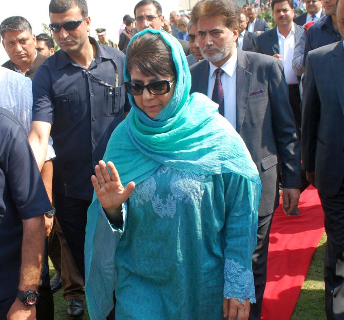 Jammu and Kashmir Chief Minister Mehbooba Mufti. Photograph: Umar Ganie for Rediff.com