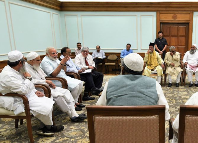 A delegation from the Muslim community, under the umbrella of the Jamiat Ulama-i-Hind, call on Prime Minister Narendra Damodardas Modi, May 9, 2017. Photograph: Press Information Bureau