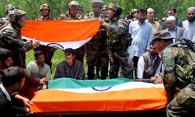 The tricolour draped on Lieutenant Umar Fayaz's coffin at his funeral, May 10, 2017. Photograph: Umar Ganie for Rediff.com