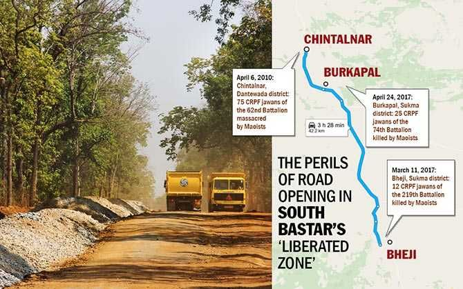 The killer road: The Dornapal-Chintagufa-Burkapal-Chintalnar-Jagargonda stretch, considered a Maoist fortress, has witnessed many deadly ambushes between the CRPF and Maoists