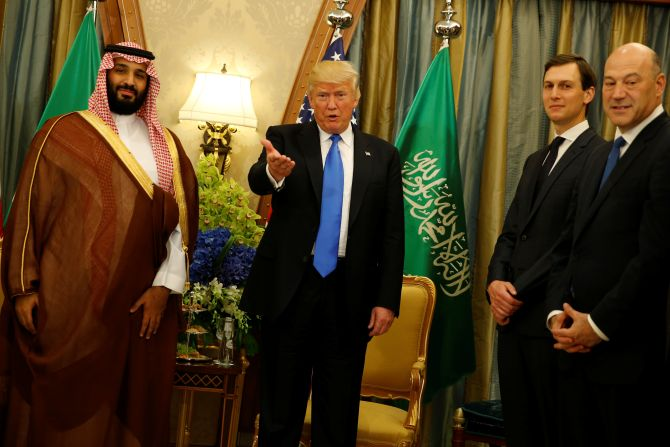 President Donald Trump, flanked by his son-in-law White House Senior Advisor Jared Kushner, second from right, and Chief Economic Advisor Gary Cohn, right, delivers remarks to reporters after meeting with Saudi Arabia's Deputy Crown Prince and Defence Minister Mohammed bin Salman, left, (who is also King Salman's favourite son) at the Ritz Carlton hotel in Riyadh, May 21, 2017. Photograph: Jonathan Ernst/Reuters