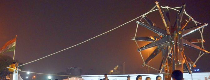 PHOTOS: Delhi gets another giant charkha - Rediff com India News