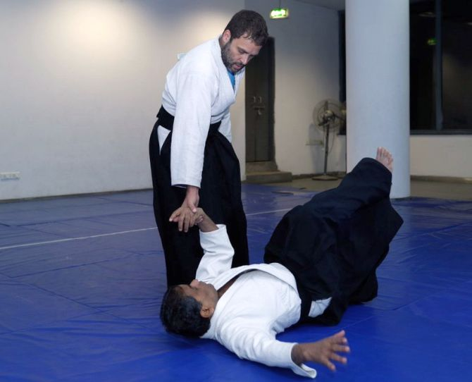 Congress President Rahul Gandhi demonstrates his Aikido moves. Photograph: Kind courtesy: @bharad/Twitter