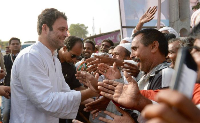 Rahul Gandhi on the campaign trail in Padla, Gujarat, November 13, 2017. Photograph: Courtesy @INCIndia/Twitter