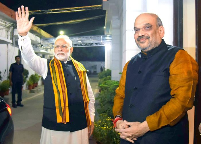 Prime Minister Narendra D Modi, left, and Bharatiya Janata Party President Amit A Shah. Photograph: Kind courtesy @BJP4India/Twitter