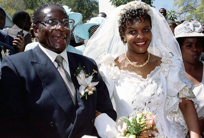 Robert and Grace Mugabe at their wedding