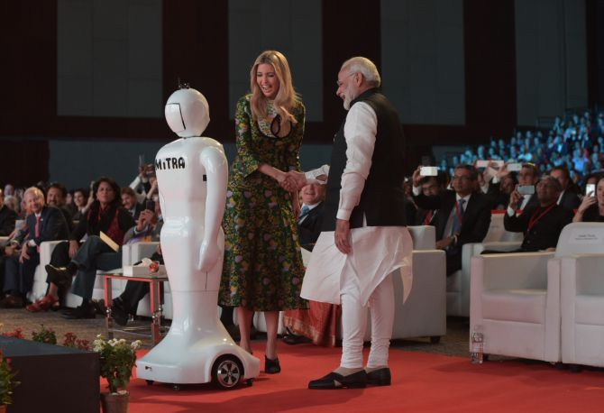 Mitra with Prime Minister Narendra D Modi with Ivanka Trump, head of the US delegation, at the Global Entrepreneur Summit 2017 in Hyderabad, November 28. Photograph: Press Information Bureau of India