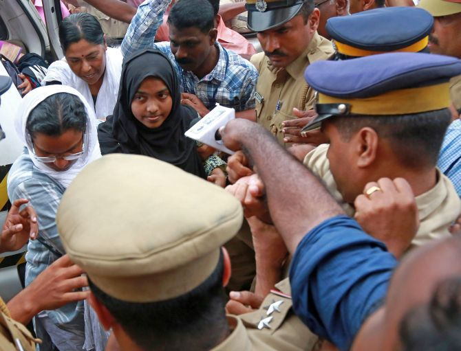 Akhila Ashokan aka Hadiya has been directed by the Supreme Court to continue her studies at the Sivaraj Homeopathy Medical College. Photograph: Sivaram V/Reuters