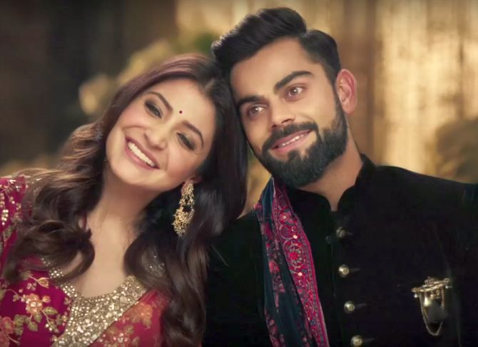 Anushka Sharma and Virat Kohli in an ad for Manyavar