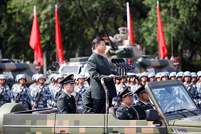 Chinese President Xi Jinping inspects People's Liberation Army troops at the PLA's Hong Kong garrison, June 30, 2017. Photograph: Photograph: Damir Sagolj/Reuters