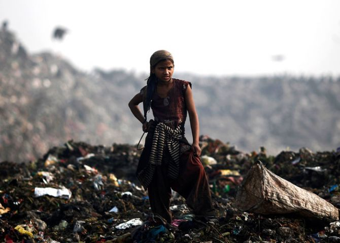 A girl collects recyclable material at a garbage dump in New Delhi February 2, 2014. Photo: Adnan Abidi/ReutersS