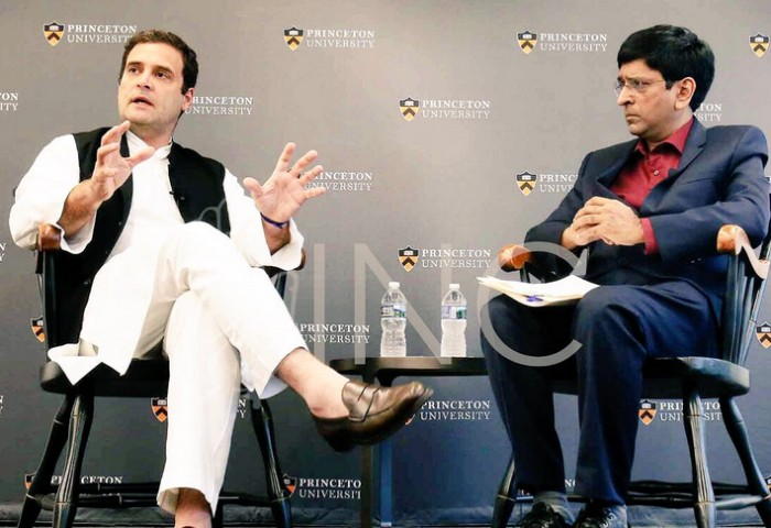 Rahul Gandhi at an interaction at Princeton University. Photograph: Kind courtesy: OfficeofRG/Twitter