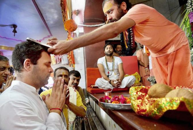 Rahul Gandhi at the Chamunda Mata temple, Chotila, Surendranagar, September 27, 2017. Photograph: PTI Photo
