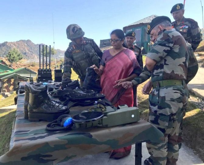Defence Minister Nirmala Sitharaman and General Bipin Rawat on a visit to  the forward areas along the Line of Control in Kashmir, September 29, 2017. Photgraph: ANI