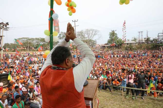 Sunil Deodhar addressing an election rally in Karbook, South Tripura