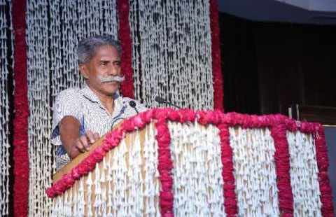 Mr Rammohan addresses a gathering in Hyderabad