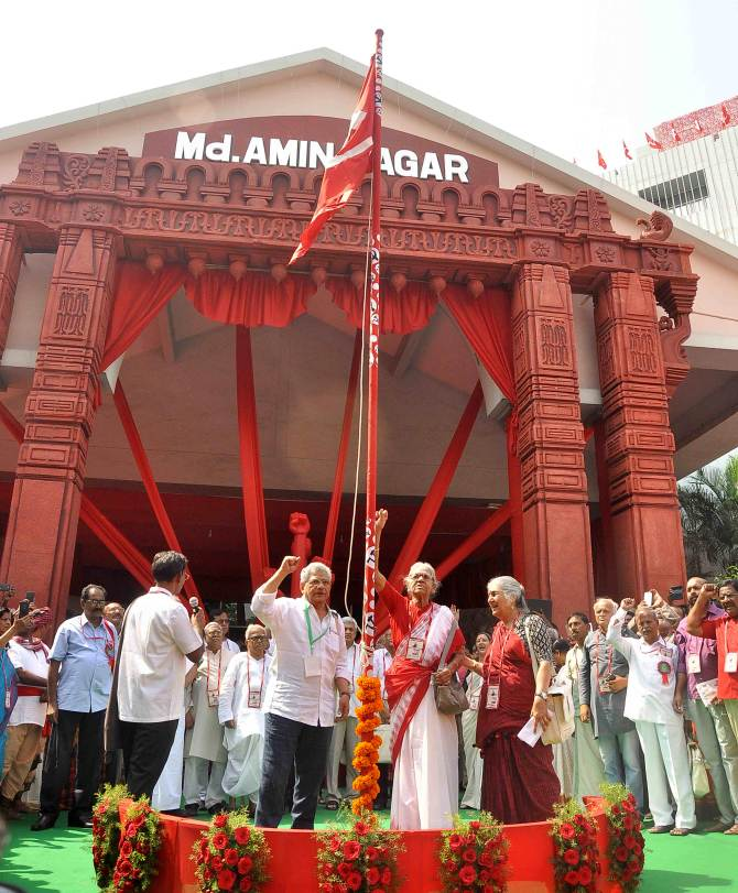 Communist Party of India General Secretary Sitaram Yechuri, second from left, before the CPI-M's 22nd party congress begins at the RTC Kalyana Mandapam in Hyderabad. April 18, 2018. Photograph: Snaps India