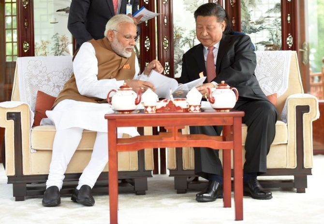Prime Minister Narendra Damodardas Modi with China's Supreme Leader Xi Jinping in Wuhan, April 28, 2018.