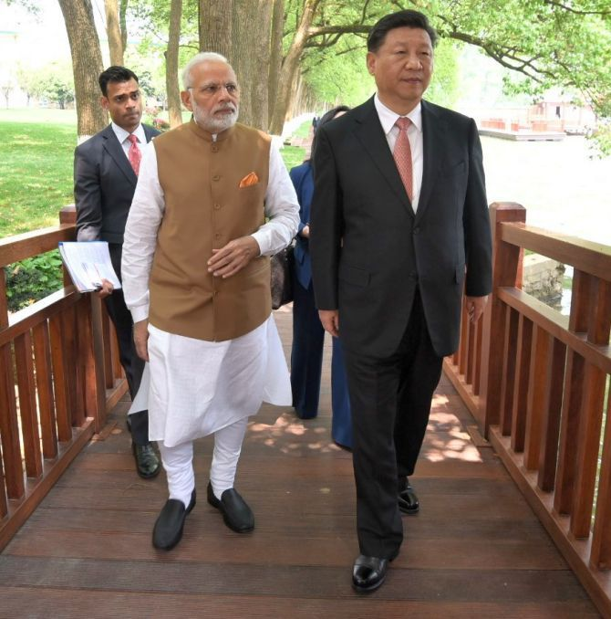 Prime Minister Narendra Damodardas Modi with Chinese President Xi Jinping in Wuhan, April 27, 2018.