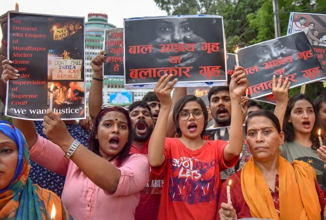 Members of different organisation stage a protest against the Muzaffarpur shelter home rape case in New Delhi. Photograph: PTI Photo