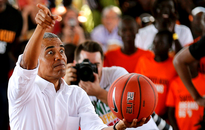 Former US President Barack Obama addresses players at the basketball court during the launch of the Sauti Kuu resource centre near his ancestral home in Nyangoma Kogelo village in Siaya county, western Kenya, July 16, 2018. Photograph: Thomas Mukoya/Reuters