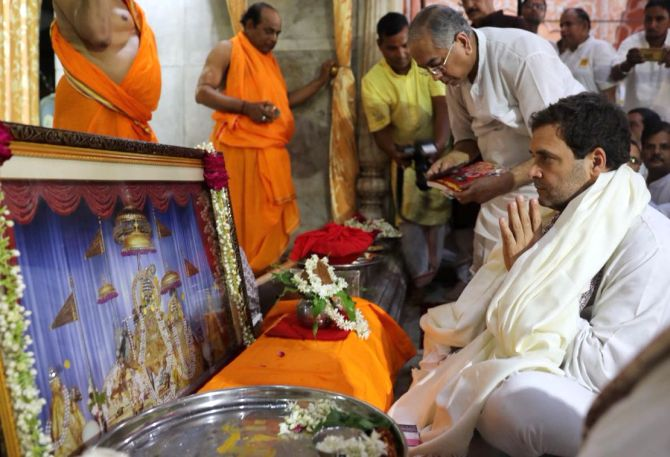 Rahul Gandhi at the Govind Devji temple in Rajasthan. Photograph: Kind courtesy @INCIndia/Twitter
