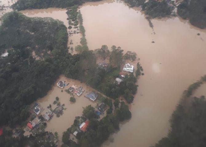 An aerial view of Kerala's flooded Pathanamthitta district, August 16, 2018. Photograph: ANI