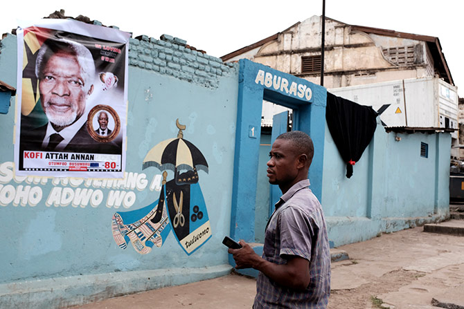 A poster depicting the late Kofi Annan outside his family home in Bompata town in Kumasi, Ghana, the day after his death, August 19, 2018. Photograph: Francis Kokoroko/Reuters