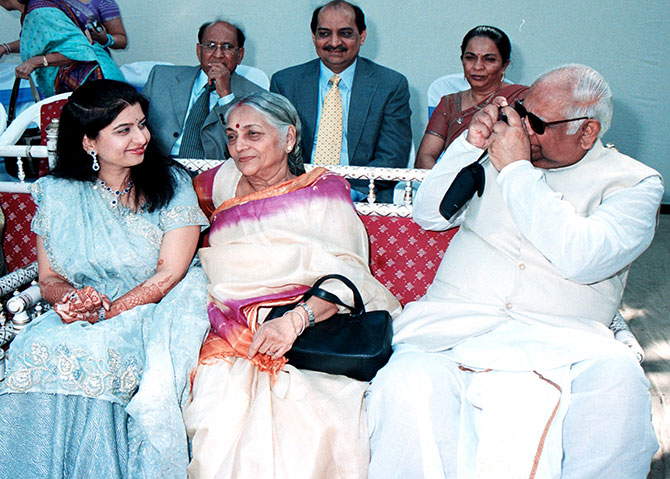 Mr and Mrs Somnath Chatterjee with their granddaughter-in-law.