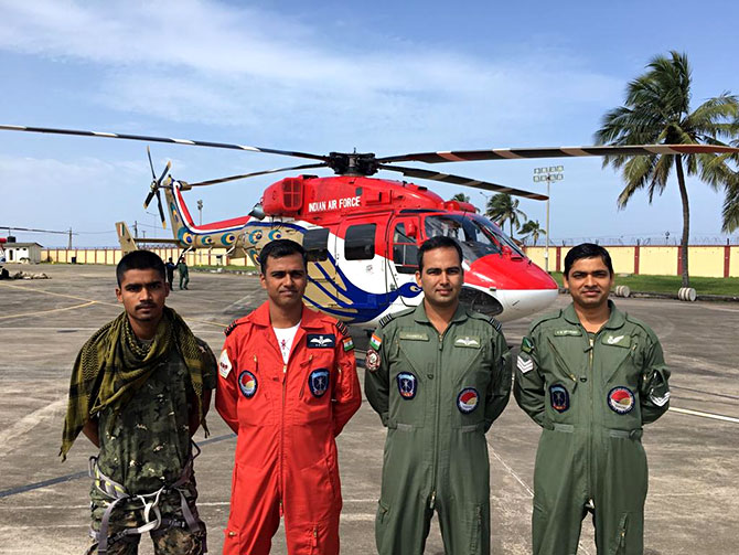 Wing Commander Sahu with his team