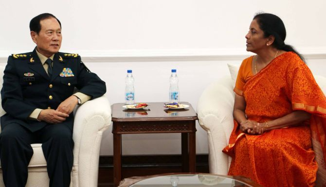 Defence Minister Nirmala Sitharaman with her Chinese counterpart Wei Fenghe in New Delhi, August 2018. Photograph: Press Information Bureau