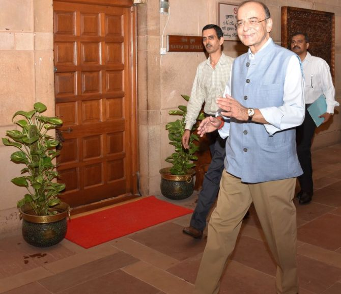 Finance Minister Arun Jaitley returns to North Block for the first time after his kidney transplant. Photograph: @FinMinIndia/Twitter