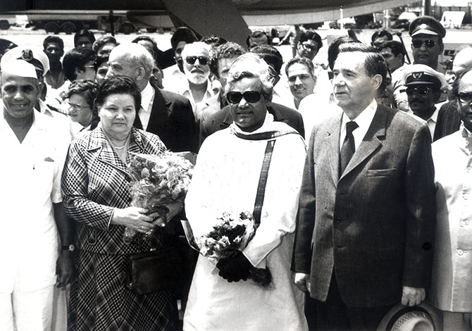 Lydia Gromyko, second from left, then external affairs minister Atal Bihari Vajpayee, then Soviet foreign minister Andrei Gromyko and then Indian ambassador to the Soviet Union, Inder Kumar Gujral.