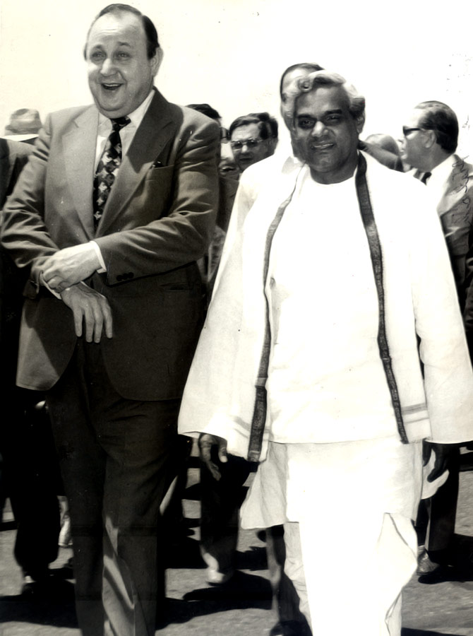 Then West German foreign minister Hans Dietrich Genscher with then external affairs minister Atal Bihari Vajpayee at Delhi airport, April 20, 1977.
