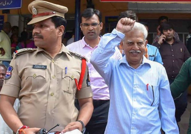 Revolutionary writer P Varavara Rao seen here following his arrest by the Pune police in Hyderabad, August 28, 2018. Photograph: PTI Photo