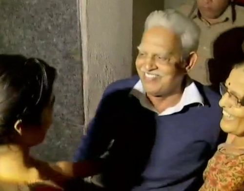 Professor Varavara Rao returns home in August 2018 after the Supreme Court then ordered him to be placed under house arrest in the Bhima Koregaon case.