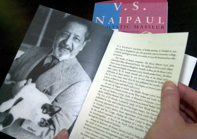 V S Naipaul's classic The Mystic Masseur seen at the Frankfurt book fair, October 11, 2001, the day the Trinidad-born British writer won the 2001 Nobel Prize for Literature. Photograph: Ralph Orlowski/Reuters