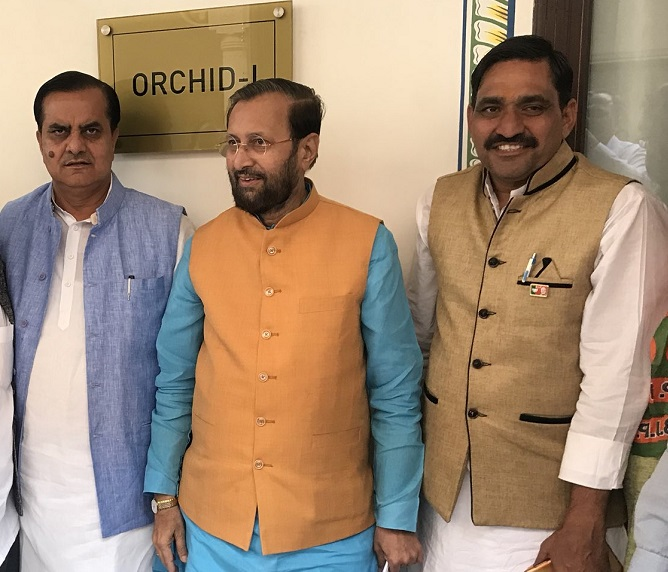 Union Human Resource Development Minister Prakash Javadekar, centre, is the Bharatiya Janata Party's election in-charge for Rajasthan