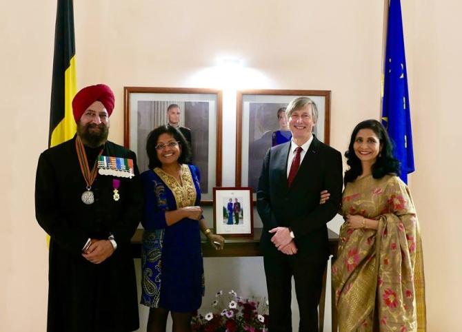 Squadron Leader Rana Chhina, Raka Singh, Ambassador Jan Luykx and Anjum Chhina.