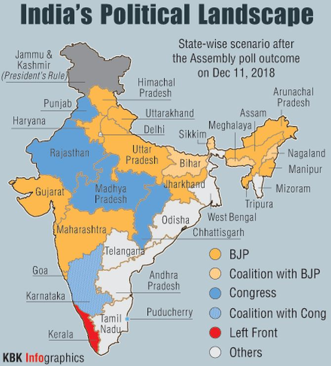 Political Parties By State Map.For The First Time Since 2014 Saffron Map Shrinks Rediff Com