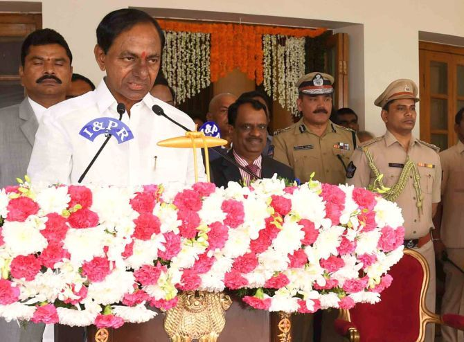 Telangana Rashtra Samithi chief K Chandrashekar Rao is sworn in as the state's chief minister for a second time in Hyderabad, December 13, 2018. Photograph: SnapsIndia