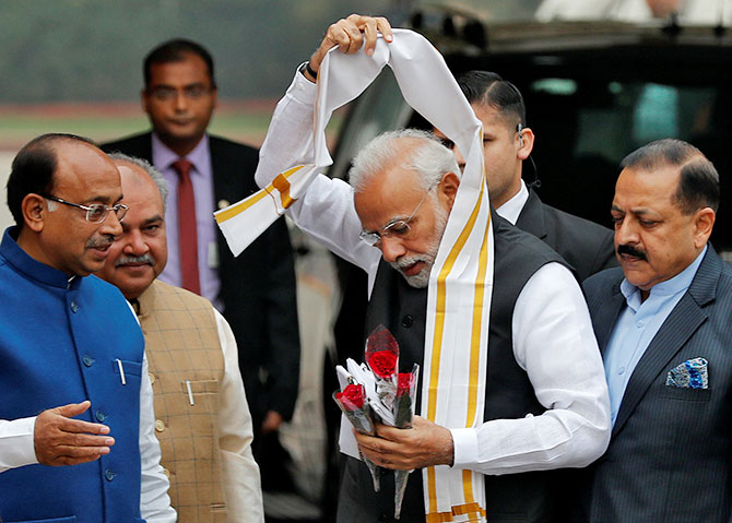 Prime Minister Narendra Damodardas Modi at Parliament House on the first day of the winter session, December 11, 2018. It was the day his Bharatiya Janata Party was ousted from power in Chhattisgarh, Madhya Pradesh and Rajasthan and failed to make an impact in Mizoram and Telangana. Photograph: Adnan Abidi/Reuters