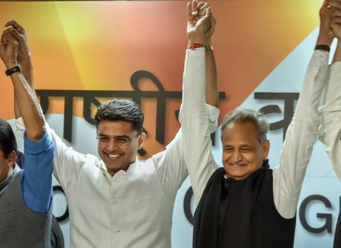 Sachin Pilot and Ashok Gehlot in Delhi