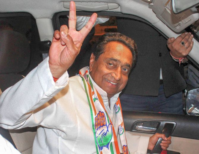 Kamal Nath, the longest serving Lok Sabha MP, is Madhya Pradesh's 18th chief minister. Photograph: PTI Photo