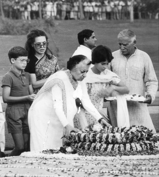 Priyanka Gandhi with her grandmother Indira Gandhi, her mother Sonia Gandhi and brother Rahul Gandhi. Photograph: Kind courtesy  twitter _PriyankaG