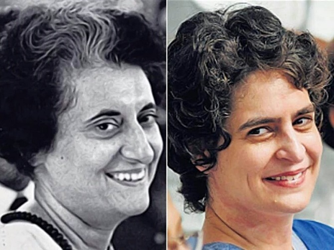 The resemblence between grandmother Indira Gandhi and Priyanka Gandhi. Photograph: Kind courtesy  twitter _PriyankaG