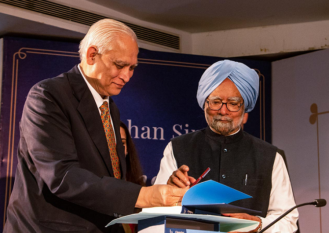 Dr Manmohan Singh at the launch of the book, Changing India. Photograph: INCIndia/Twitter