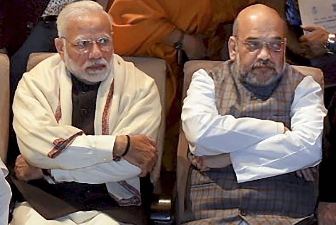Prime Minister Narendra Damodardas Modi with Bharatiya Janata party President Amit Anilchandra Shah