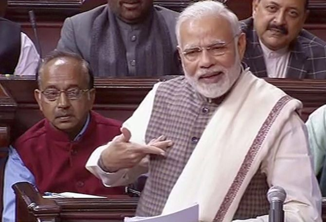 Prime Minister Narendra Damodardas Modi launched a scathing attack on the Nehru-Gandhi family and the Congress in Parliament during a debate on the motion of thanks for the President's address, February 7, 2018.